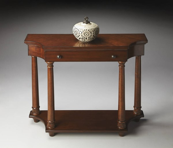 Masterpiece Hobson Traditional Brown Nutmeg Rubberwood Console Table BSF-2206251