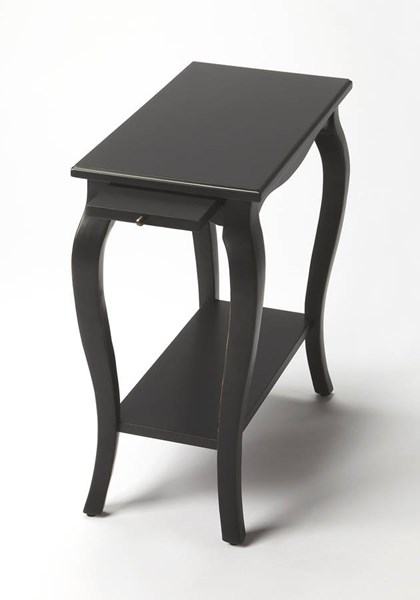 Masterpiece Sabrina Black Licorice Rubberwood MDF Chairside Table BSF-2247111