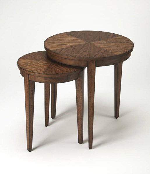 Butler Loft Transitional Dark Brown Acacia Wood Nest Of Tables BSF-2249275