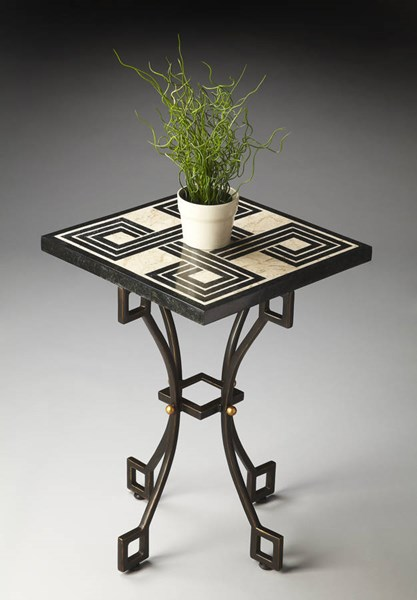 Metalworks Transitional Black Cream Fossil Stone Metal Accent Table bsf-2280025