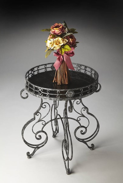 Metalworks Traditional Black Fossil Stone Inlay Metal Accent Table bsf-2284025