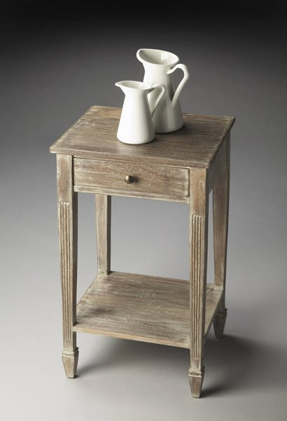 Artifacts Transitional Gray Acacia Wood MDF Side Table BSF-2291290