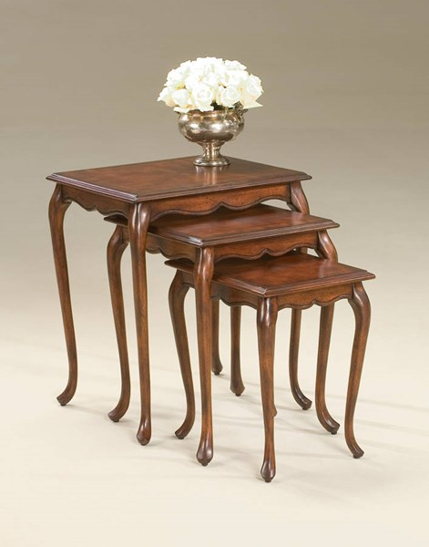 Plantation Cherry Thatcher Traditional Dark Brown Nest Of Tables BSF-2306024