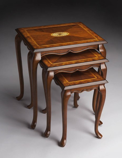 Masterpiece Thatcher Traditional Medium Brown Olive Ash Nest Of Tables BSF-2306101