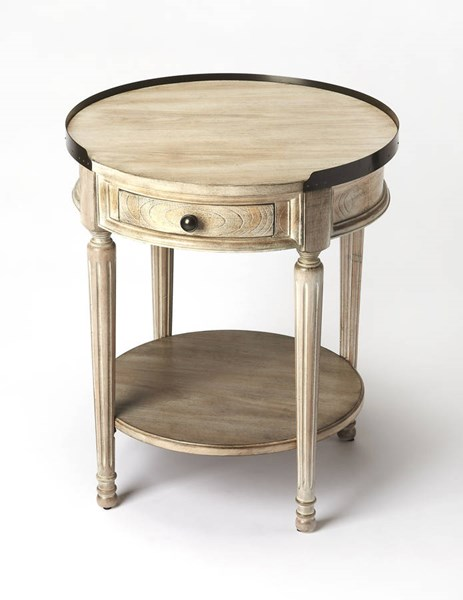 Masterpiece Sampson Gray Driftwood Rubberwood MDF Resin Accent Table BSF-2311247