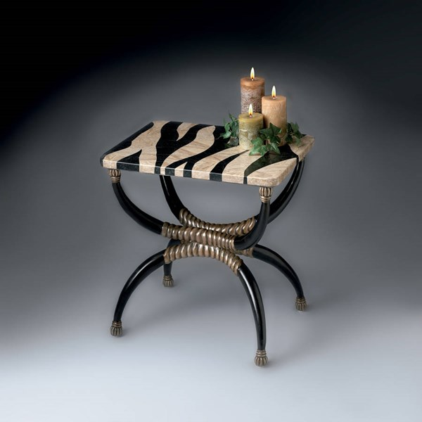 Heritage Transitional Resin Base w/Zebra Fossil Stone Accent Table BSF-2343070