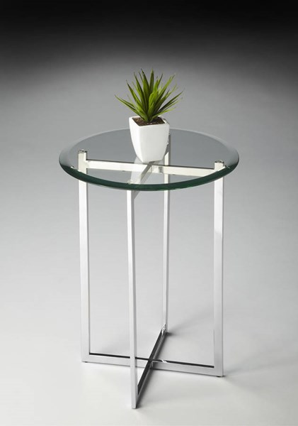 Butler Loft Modern Silver Stainless Steel Glass Accent Table BSF-2385220