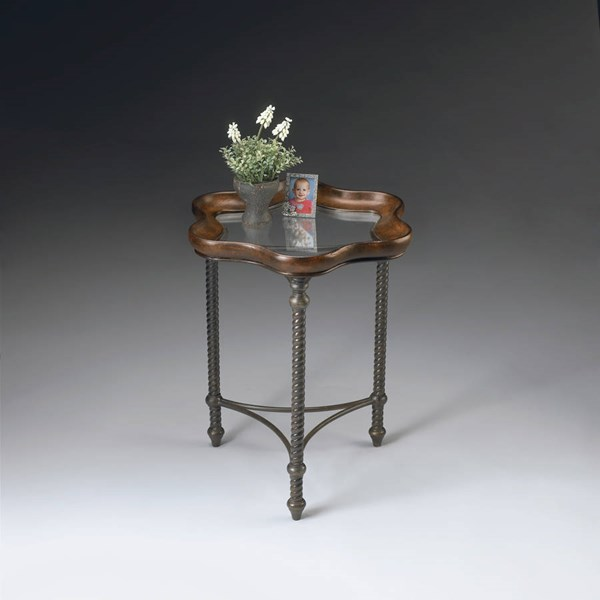 Metalworks Transitional Inset Glass Top Faux Leather Accent Table BSF-2418025