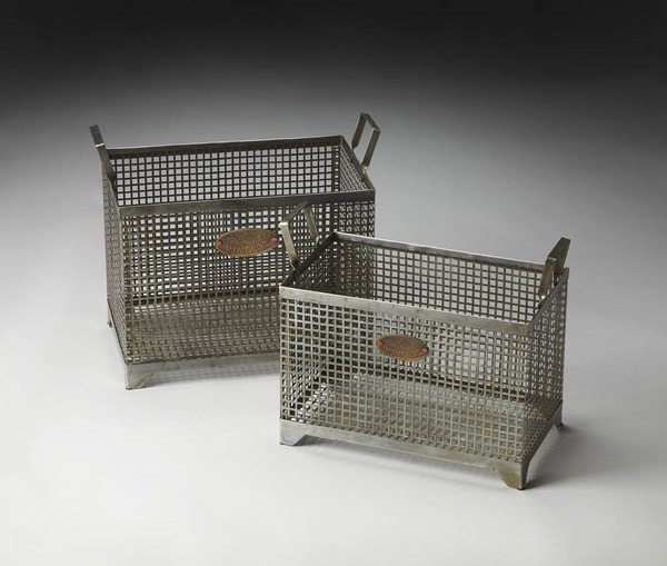 Hors D Oeuvres Rowley Transitional Gray Iron Storage Basket Set BSF-2549016