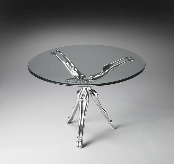Metalworks Blissful Modern Aluminum Tempered Glass Accent Table bsf-2599025