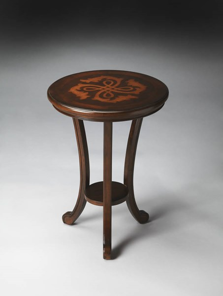 Plantation Cherry Yates Dark Brown Wood MDF Resin Accent Table bsf-2619024