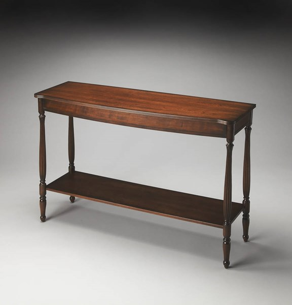 Plantation Cherry Bennett Transitional Brown MDF Resin Console Table bsf-2622024