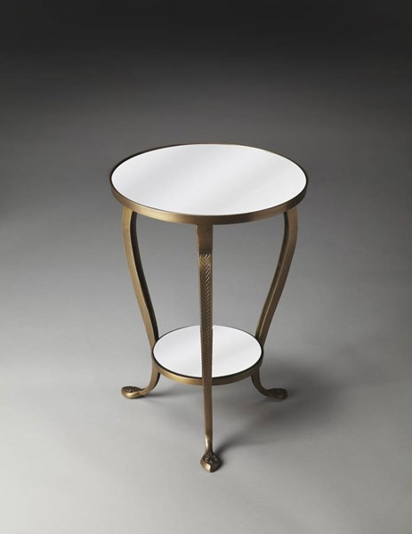 Metalworks Cascade Transitional Gold Aluminum Glass Accent Table BSF-2677025