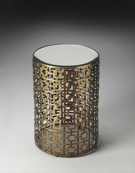 Metalworks Franklin Modern Gold Aluminum Glass Accent Table BSF-2678025