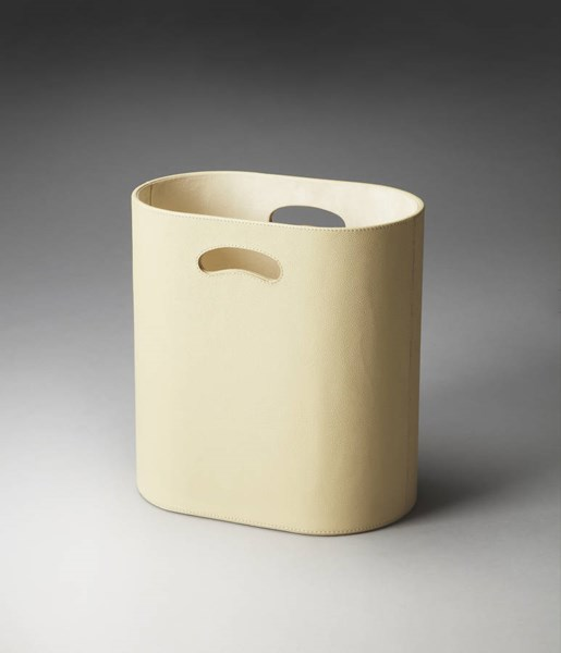 Hors D Oeuvres Lido Modern Cream Leather Polysuede Storage Basket bsf-2735287
