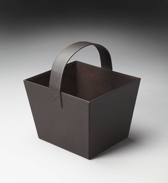 Hors D Oeuvres Lido Modern Brown Leather Polysuede Magazine Basket bsf-2736034