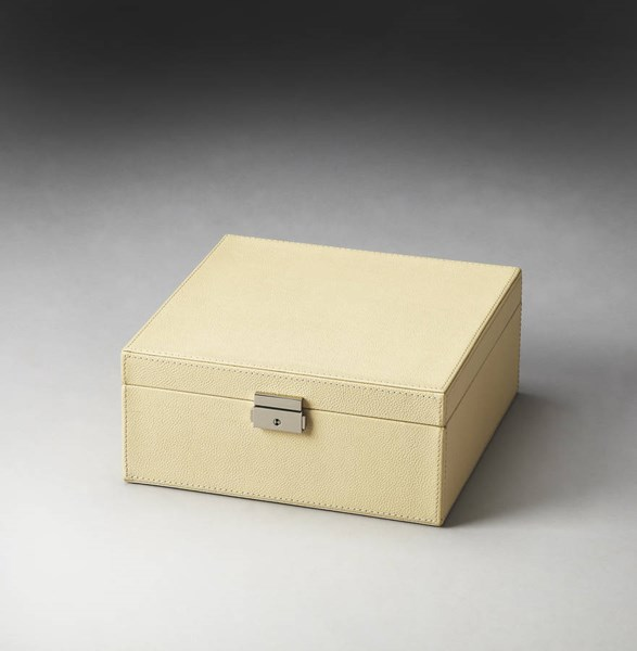 Hors D Oeuvres Lido Modern Beige Leather MDF Polysuede Storage Case bsf-2778287