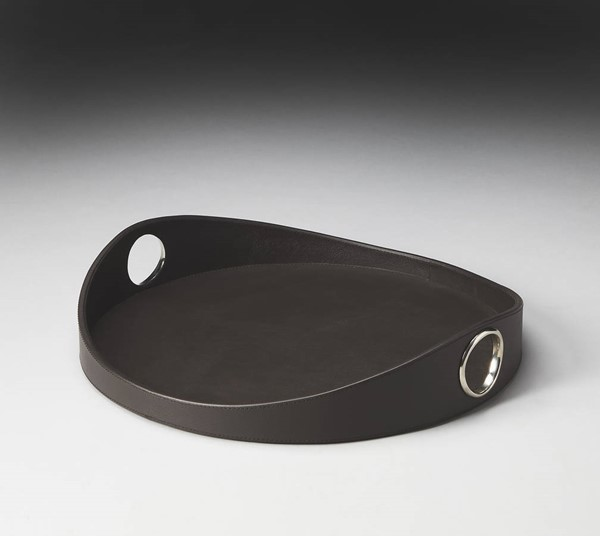 Hors D Oeuvres Lido Brown Leather Chrome Ring MDF Steel Serving Tray bsf-2780034
