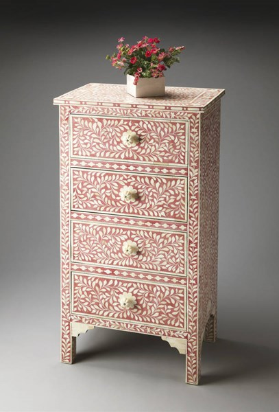Bone Inlay Vivienne Traditional Red Rose Inlay Solid Wood MDF Chest bsf-2850070