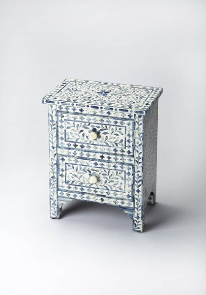 Bone Inlay Vivienne Blue Inlay Solid Wood MDF Resin Accent Chest BSF-2865319