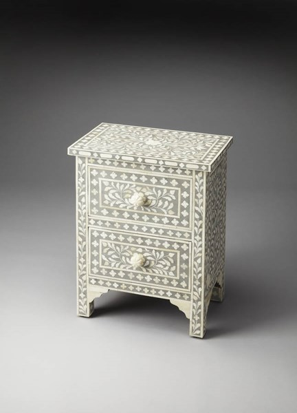 Bone Inlay Vivienne Traditional Grey Inlay Solid Wood MDF Accent Chest BSF-2865321