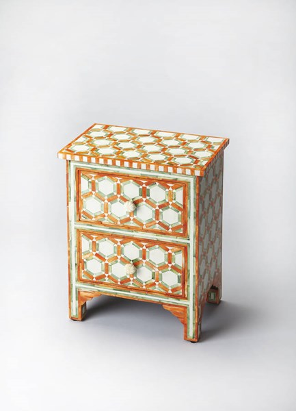 Bone Inlay Vivienne Orange Inlay Solid Wood MDF Resin Accent Chest BSF-2865323