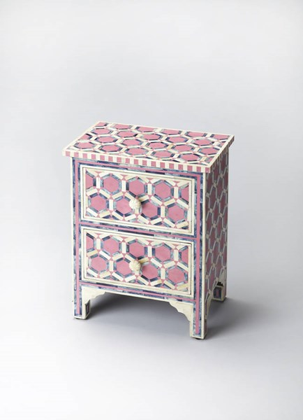 Bone Inlay Vivienne Pink Inlay Solid Wood MDF Resin Accent Chest BSF-2865324