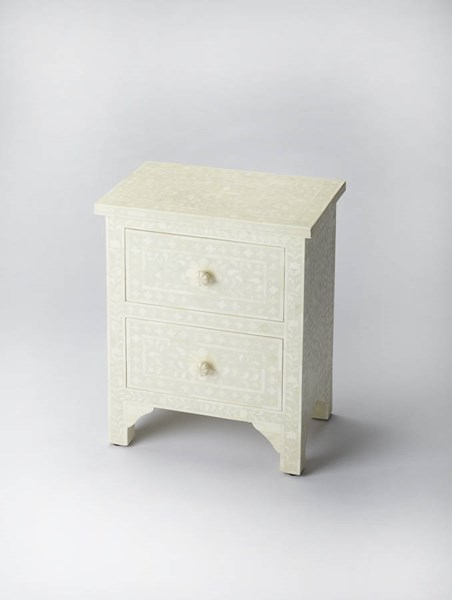 Bone Inlay Vivienne White Inlay Solid Wood MDF Resin Accent Chest BSF-2865325
