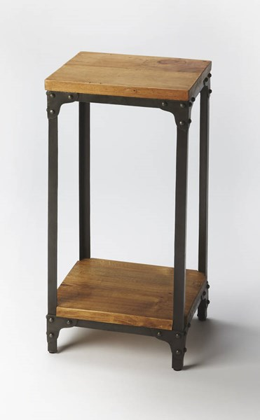 Industrial Chic Grimsley Transitional Iron Wood Pedestal Stand BSF-2874330