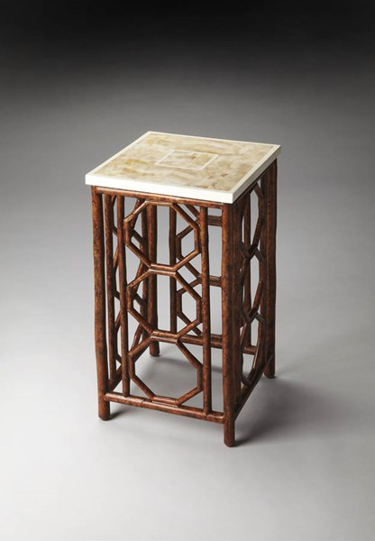 Designer Edge Transitional Fossil Stone Top Bamboo Base Accent Table bsf-2875035