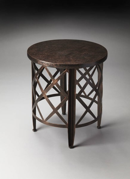 Metalworks Transitional Hammered Distressed Round Top End Table BSF-2881025