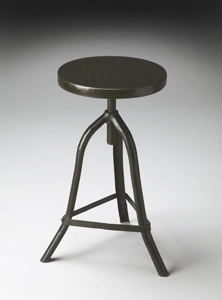 Industrial Chic Modern Black Iron Solid Wood Seat Revolving Stool BSF-2897025
