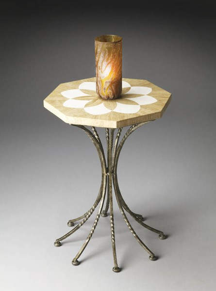 Metalworks Transitional Octagonal Cream Fossil Stone Accent Table bsf-2977025