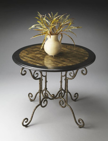 Metalworks Traditional Gold Black Crafted Inlays Foyer Table bsf-2992025