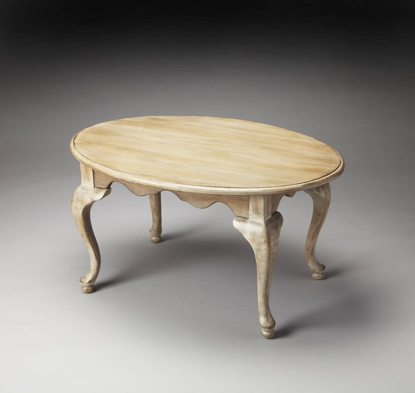 Masterpiece Grace Driftwood Gray Rubberwood MDF Oval Cocktail Table BSF-3012247