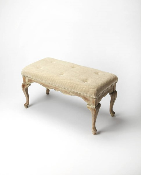 Masterpiece Grace Traditional Gray Driftwood Hardwood MDF Cotton Bench BSF-3013247