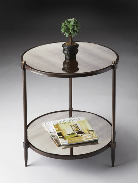 Metalworks Transitional Gray Steel Glass Side Table BSF-3048025