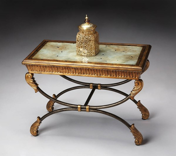 Heritage Metal Base Antiqued Effect Glass Top Cocktail Table bsf-3056070