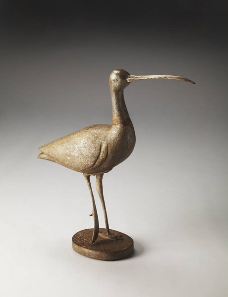 Hors D Oeuvres Great Egret Transitional Brown Wood Metal Figurine bsf-3144016