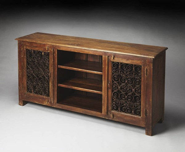 Artifacts Hacienda Transitional Brown Solid Wood Iron Console Cabinet bsf-3171290
