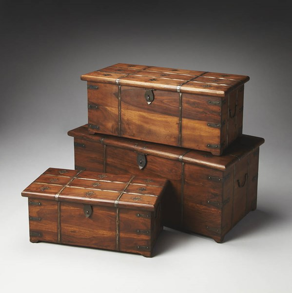 Artifacts Arcadia Transitional Brown Solid Wood Iron Storage Trunk Set BSF-3172290