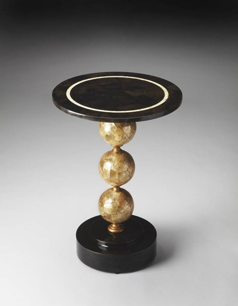 Heritage Niven Transitional Black Fossil Stone Shell Accent Table bsf-3198070
