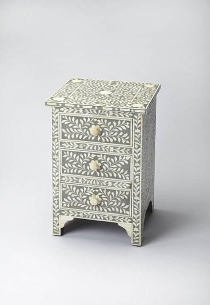 Bone Inlay Vivienne Gray Bone Inlay Solid Wood MDF Resin Accent Chest BSF-3202321