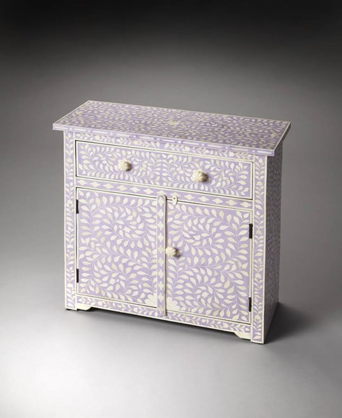 Bone Inlay Vivienne Traditional Lavender Inlay Wood MDF Console Chest bsf-3203070
