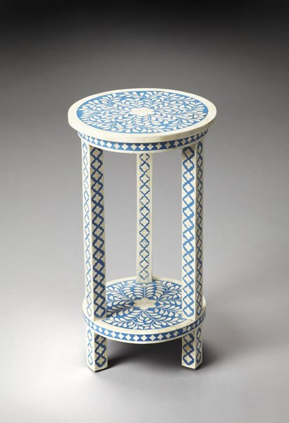 Bone Inlay Amanda Traditional Blue Inlay Wood MDF Accent Table BSF-3207070