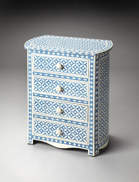 Bone Inlay Amelia Traditional Blue Inlay Wood MDF Accent Chest BSF-3213070