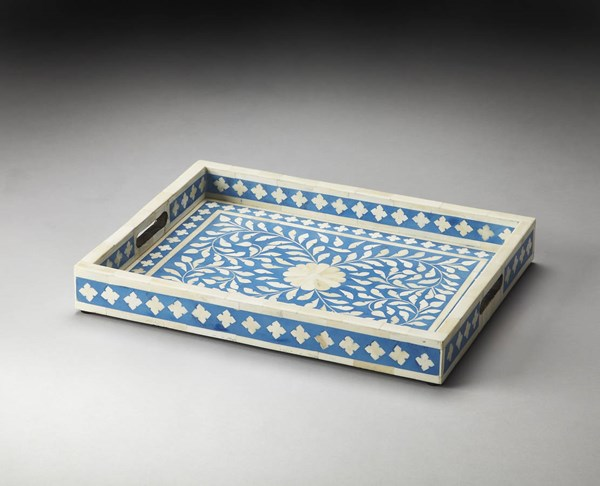 Hors D Oeuvres Vivienne Blue Bone Inlay Wood MDF Serving Tray bsf-3231016