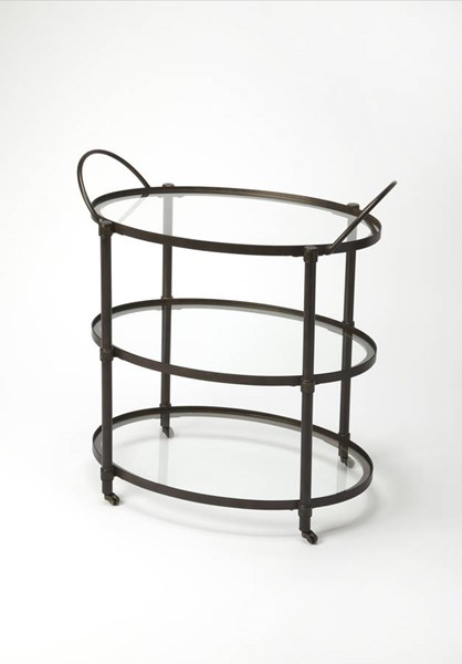 Metalworks Penelope Transitional Gray Metal Glass Serving Cart BSF-3238025