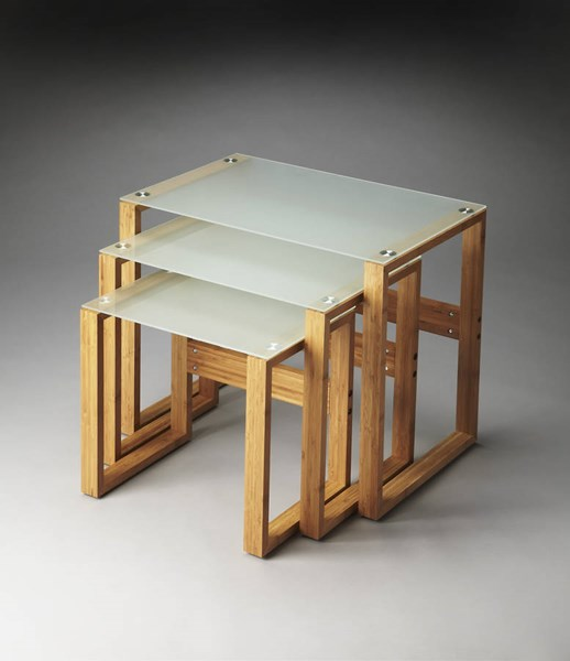 Butler Loft Arliss Frosted Glass Natural Bamboo Nesting Tables BSF-3242140