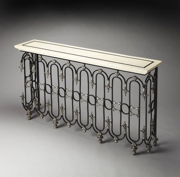 Connoisseur Vienna Traditional Metal Fossil Stone Resin Console Table bsf-3246090